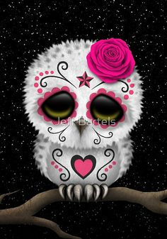 CUTE PINK DAY OF THE DEAD SUGAR SKULL OWL by Jeff Bartels