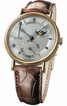 Breguet Classique Power Reserve Silver Dial 18kt Yellow Gold Brown Leather Mens Watch 7137BA119V6