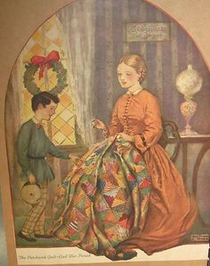 Patchwork Quilt Civil War Era Mother and Child Reginald P Ward Vintage Quilts Patterns, Antique Quilts, Crafts With Pictures, Rose Pictures, Dear Jane Quilt, Quilting Quotes, History Of Quilting, Civil War Quilts, Sewing Art