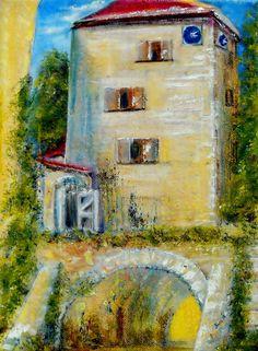 Öl Acryl Gemälde Wasserburg Neuhaus Turm Mittelalter Hajewski Leinwand Leinen