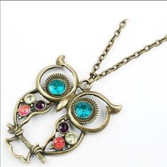 Jeweled owl antique looking pendant necklace Brand new in packaging, beautiful jeweled body and eyes.... Jewelry Necklaces