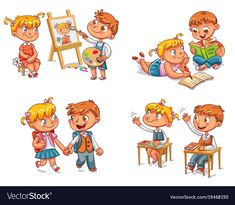 Students put hand up in class room. Schoolboy and schoolgirl go to school holding hands. Boy paints portrait of girl. Evil Cartoon Characters, Back To School Funny, Daily Routine Activities, Autism Learning, School Images, Butterfly Life Cycle, School Clipart, Dog Vector, Do Homework