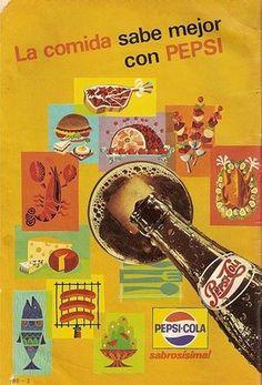 Vieja publicidad de Pepsi, 1968 Pepsi makes your meals taste better!