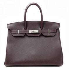 Authentic Hermès Raisin Togo Leather 35 Cm Birkin Bag