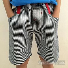 BN Black stripes cotton bermuda with red elastic waistband.(Sizes:110,120,130,140)