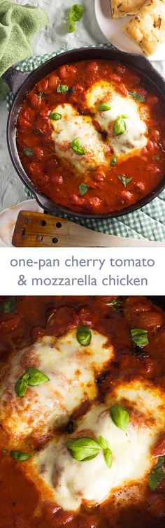 One-pan cherry tomato and mozzarella chicken/ @scrummylane