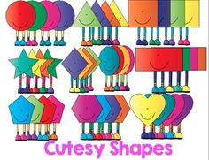 Cutesy 2D Shapes {Clip Art For Commercial Use}