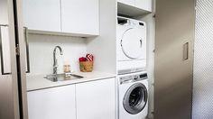 Michael + Carlene's 'captivating' laundry   The Block Glasshouse   laundry cupboard, toilet in laundry