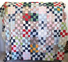 antique quilt top. Late 1800s / 1900s nine | Luncheonette Vintage