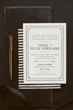 Leah + Kyle's Matte Gold Foil Wedding Invitations