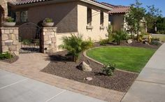 Front yard Arizona landscape design with paver driveway ribbons, paver courtyard with fountain and planter pillars. Front Yard Patio, Trees For Front Yard, Front Courtyard, Front Yard Design, Front Yard Landscaping, Front Yards, Courtyard Design, Side Yards, Porch
