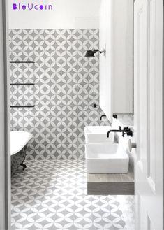 Geometric Tile/ Wall/ Stair Riser Decal/Stickers/ for Kitchen/ Bathroom Backsplash, Floor, Ceiling/ Door - 44 Pcs White Bathroom Tiles, Bathroom Flooring, Wall Tiles, Modern Bathroom, Small Bathroom, Master Bathroom, Spanish Bathroom, Shiplap Bathroom, Basement Bathroom