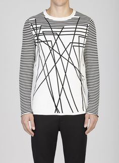 Abstract Striped Jumper Leche/black
