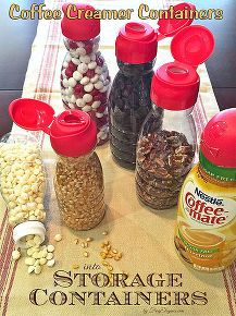 DIY Insanely Clever- simple repurposed coffee creamer Storage !