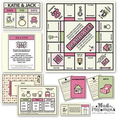 Monopoly inspired Wedding stationery designed by Mad Philemonia - I went to a wedding where they did something like this! fab idea :)