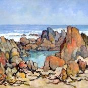 Sold |Theys, Conrad | Tidal Pool - Onrus rivier Brighton College, South Africa Art, National Art Museum, South African Artists, Art Society, Z Arts, Art Studies, Landscape Paintings, Graphic Art