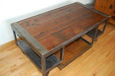 Vintage Handmade Wood Amp Metal Industrial Coffee Table