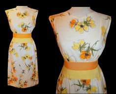 Vintage 50's ESTEVEZ Yellow FLORAL Print Wiggle Cocktail Dress // 1950's Cotton & Linen Couture Bombshell // Novelty Garden Party Dress by TheVintageVaultShop on Etsy
