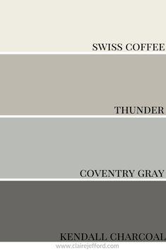Kendall Charcoal Benjamin Moore, Benjamin Moore Coventry Gray, Benjamin Moore Exterior Paint, Benjamin Moore Kitchen, Benjamin Moore Colors, Benjamin Moore Thunder, Best White Paint, White Paint Colors, Paint Colors For Home
