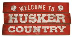 Husker Country Plank Wood Sign