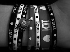 Bracelets with the names of the lurvely boys of One Direction.