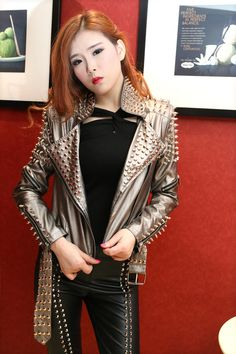 >> Click to Buy << female rock punk PU leather jacket/rivet slim leather coat/women Motorcycle Jacket/metal  washing leather jacket/motorcycle coat #Affiliate