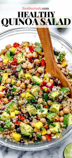 Bright flavor and bold bites are what make this healthy quinoa salad with chickpeas, black beans, mango and avocado in a lime dressing the perfect meal. Quinoa Recipes Easy, Healthy Salad Recipes, Veggie Recipes, Whole Food Recipes, Diet Recipes, Cooking Recipes, Recipes With Beans Healthy, Recipes With Chickpeas, Simple Healthy Recipes