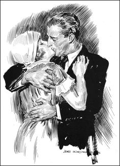 """""""Passionate Kiss"""", James Montgomery Flagg. I want this as big as a wall, splashed with watercolors. Gorgeous."""