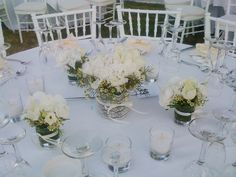 Wedding Table centerpieces..White lisianthus with romantic lace..  #wedding #Fleria www.fleria.gr/category/events/