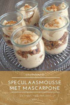 Recipe gingerbread mousse with mascarpone [ Snel & Lekker!] - Recipe gingerbread mousse with mascarpone [Fast & Tasty! Dutch Recipes, Sweet Recipes, Delicious Desserts, Yummy Food, Tiramisu, Food Inspiration, Love Food, The Best, Food Porn
