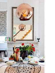 Luscious dining rooms - mylusciouslife.com - Dining room with Tom Dixon lighting