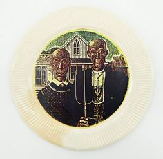 Lot 468- Howard Kottler (1930-1989 Washington) ''Look Alikes'' 1978 Paper Plate 9.25'' Diameter. Color serigraph of his most famous decal plate. Ink stamped and dedicated on verso. Some foxing to edge. Collection of Ruth Namura, Seattle. Former manager for the Pacific Northwest Crafts Center.