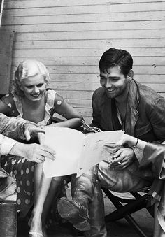Jean Harlow and Clark Gable on the set of 'Red Dust' Love this movie.