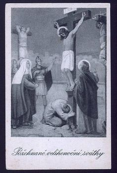 Christ on The Cross Vintage Religious Postcard Crucifixion