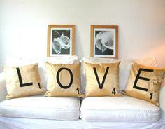 Scrabble Pillows: 4 Letters of your choice in silk shantung !