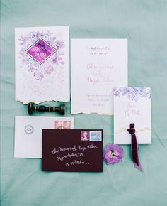 velvet plum invitation suite for a rustic and glamourus wedding