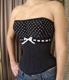 Black Cat Corset - CHOCO CREAM 09: Pin-Up Polka Dots Overbust.