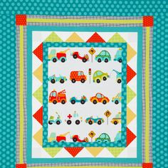 Traffic Jam Wall Hanging--could use any focus fabric in the center--boys or girls