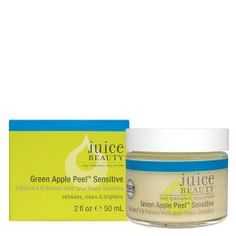 Juice Beauty - Green Apple Peel Sensitive - This Patented organic fruit acid complex with raw cane sugar exfoliates to reduce breakouts, discolorations and fine lines. Heals while hydrating with rejuvenating algae, vitamins and antioxidants for a smooth, glowing complexion.