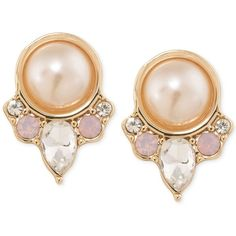 Carolee Gold-Tone Imitation Pink Pearl and Crystal Clip-On Button... (398.400 IDR) ❤ liked on Polyvore featuring jewelry, earrings, accessories, pink, crystal earrings, gold tone earrings, button earrings, pink pearl jewelry and pink crystal jewelry