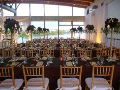 Elegant Reception at the UBC Boathouse. All rectangular tables for guests. | John M.S. Lecky UBC Boathouse. Richmond, BC. www.ubcboathouse.com
