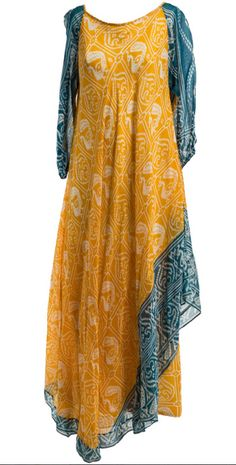 1970's Troubadour London Ethnic Print Dress