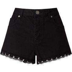 Miss Selfridge Crochet Hem Denim Shorts , Black ($22) ❤ liked on Polyvore featuring shorts, black, denim shorts, crochet shorts, miss selfridge, macrame shorts and denim short shorts