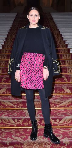 Fashion maven: Also turning heads at the glittering event was Olivia Palermo, who showed off her stellar style in a fuchsia pink mini skirt and cosy black knit