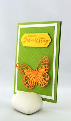 Geburtstagskarte- Schmetterlingsgruß - ein Designerstück von StempelLeo bei DaWanda
