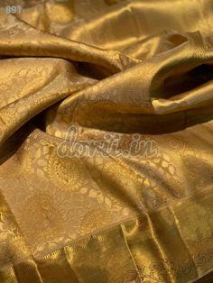 Presenting Pure Kanchipuram gold collection all over brocade jari with silk mark Note dry clean only Indian Bridal Sarees, Wedding Silk Saree, Indian Silk Sarees, Banarasi Sarees, Pure Silk Sarees, Kalamkari Dresses, Ethnic Sarees, Gold Silk Saree, Brocade Saree