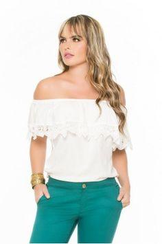 blusa cuello de bandeja Peplum, Ruffle Blouse, Off Shoulder Blouse, Casual, How To Wear, Outfits, Women, Manga, Fashion