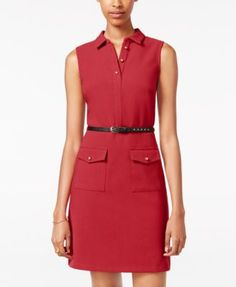 XOXO Juniors' Belted Shirtdress | macys.com