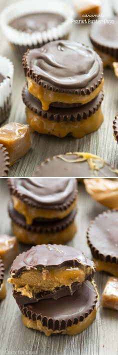 Homemade Caramel Peanut Butter Cups are filled with peanut butter and gooey caramel. It's the perfect candy recipe for the holidays!