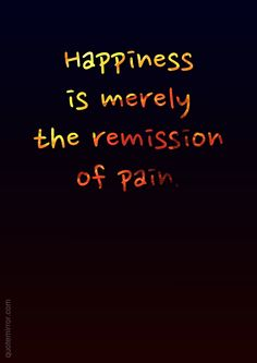 Happiness is merely the remission of pain.  – #happiness #pain http://quotemirror.com/s/lv9k3